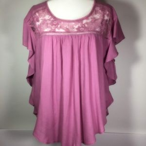 Entro Purple Lace Boho Blouse L